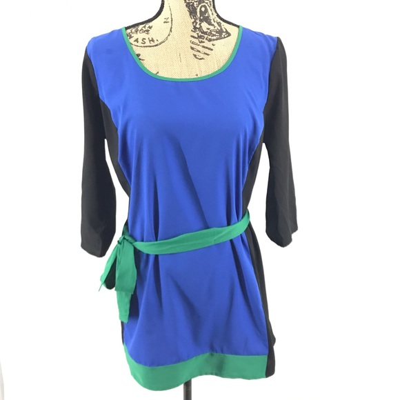 Motherhood Maternity Tops - Motherhood ColorBlock Tunic Tie Waist Keyhole Back